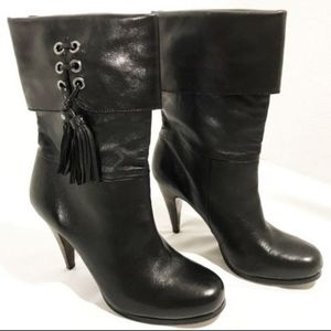 COACH Legra Black Leather Tassel Heel Ankle Boots